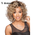 Free package Black roots white highlights short Wig for black women curly Heat Resistant synthetic african american hair wigs