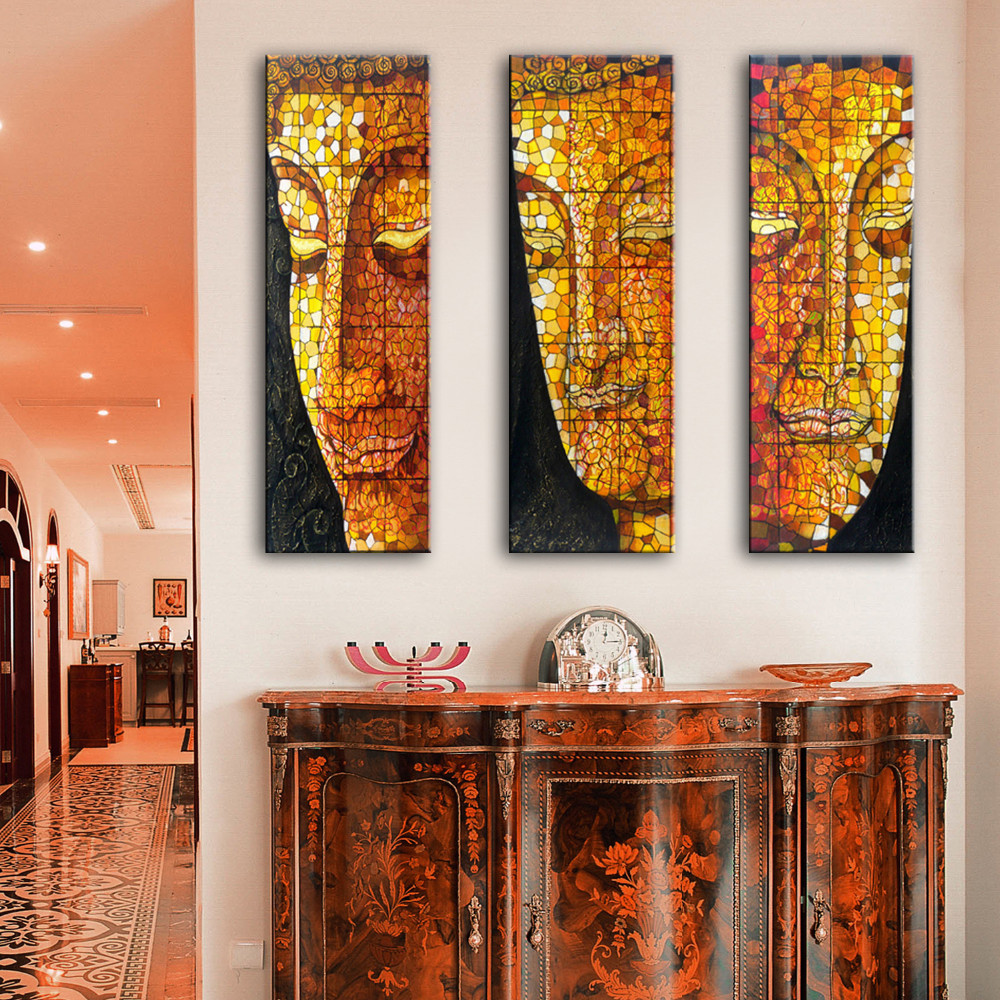 online get cheap buddha face painting aliexpress com alibaba group 2016 new arrival 3 pieces wall painting buddha face decoration painting home decor on canvas modern