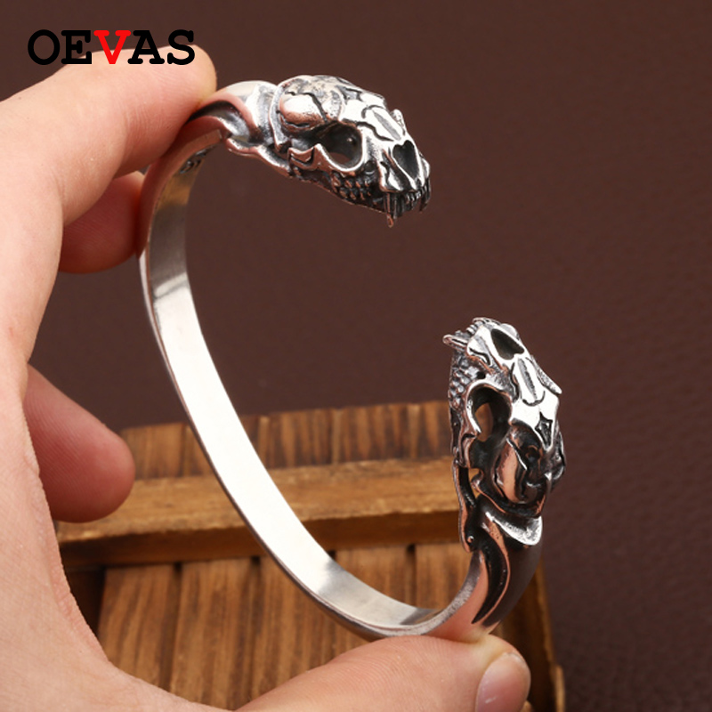 NEW! Thai 925 Silver Tiger SKULL Bangle Vintage Sterling Silver Tiger Skeleton Bangle Man Bangle 100% Sterling silver jewelry