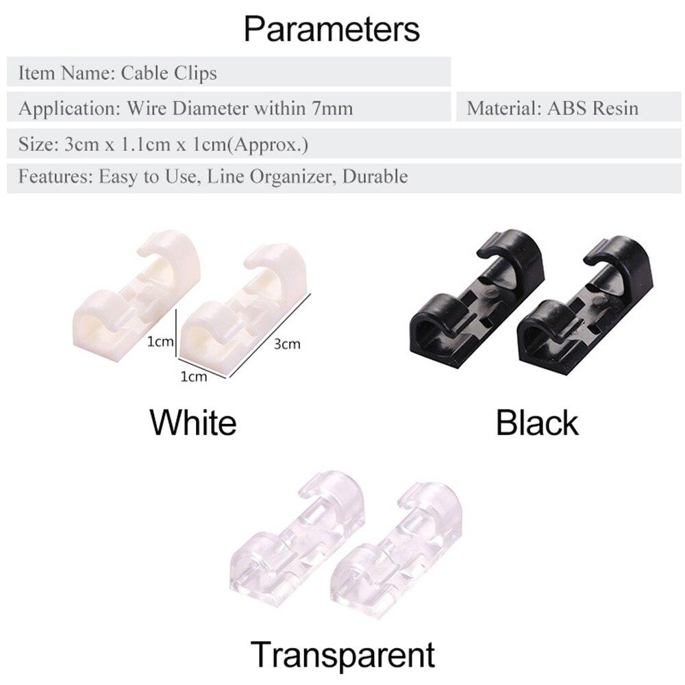 Czemo Clips de Cable Adhesivo 10 Piezas Organizador de Administraci/ón de Cables para Escritorio Sujetacables Soporte de Cable con Autoadhesivo Negro