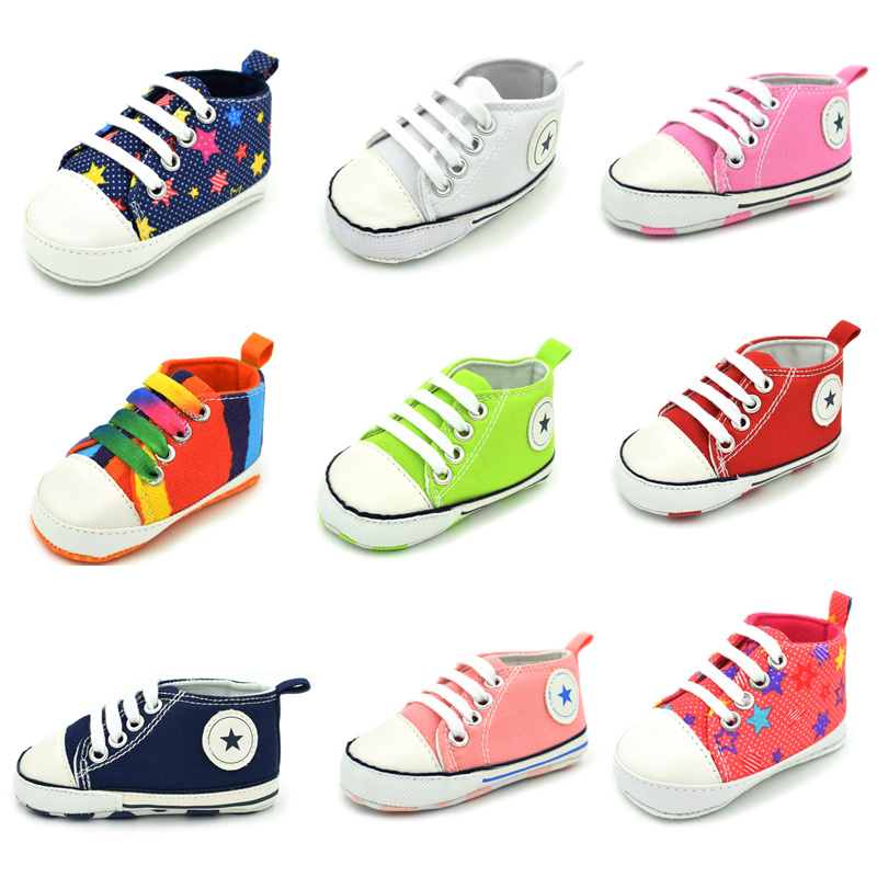 First Walkers Baby Girls Shoes Boys First Walker Newborn Canvas Sneakers Crib Shoes Toddler Soft Sole Anti-slip Baby Shoes