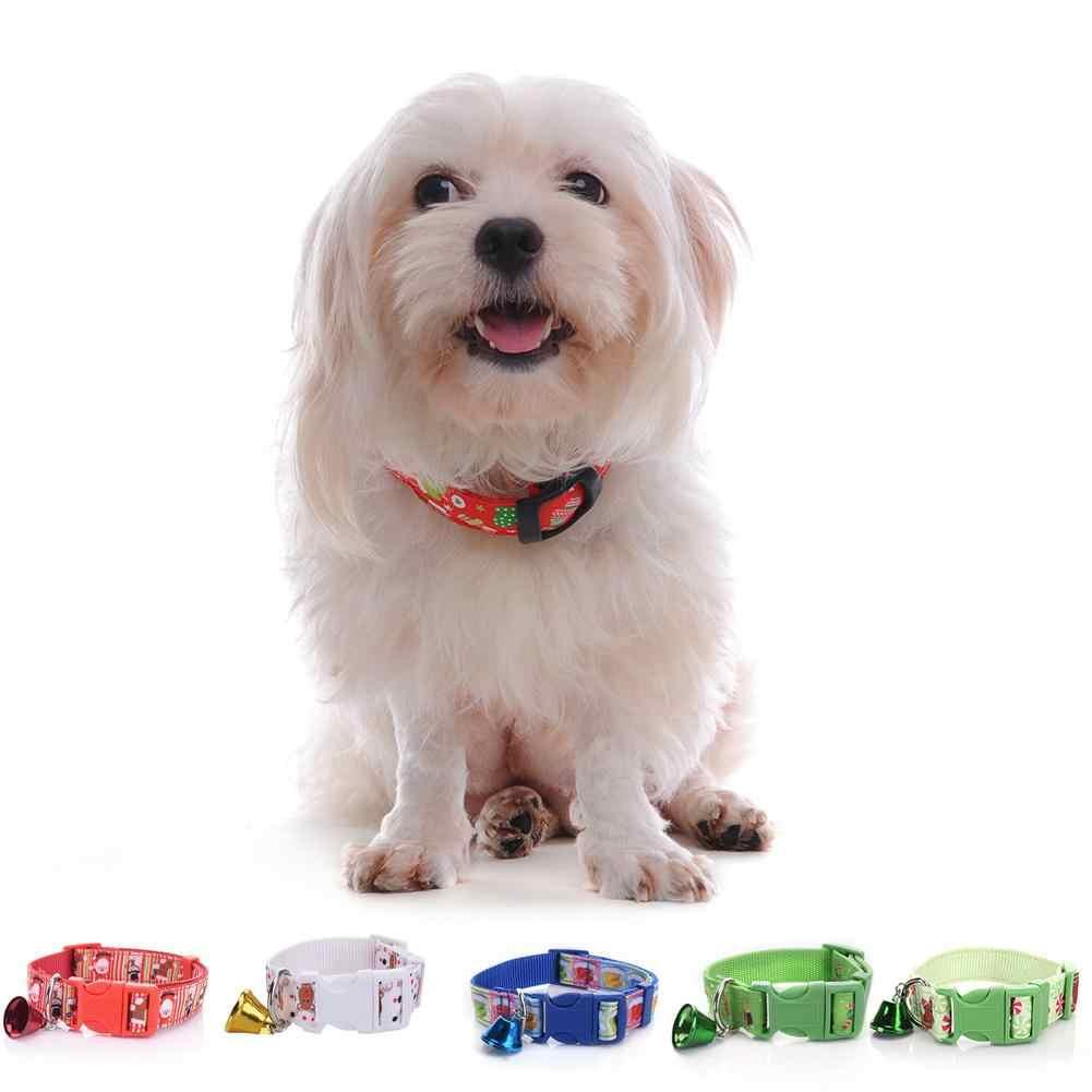 Collier de noël pour chien réglable noël hiver neige thème libération rapide collier de chiot avec cloche pour les petits chiens moyens marchant