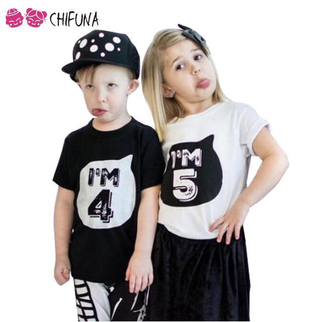 Chifuna 2017 Verano Bebé de La Manera Muchacha Del Muchacho t shirt Regalo de Cumpleaños Número Algodón camisetas de Verano de Manga Corta Niños Top Tee