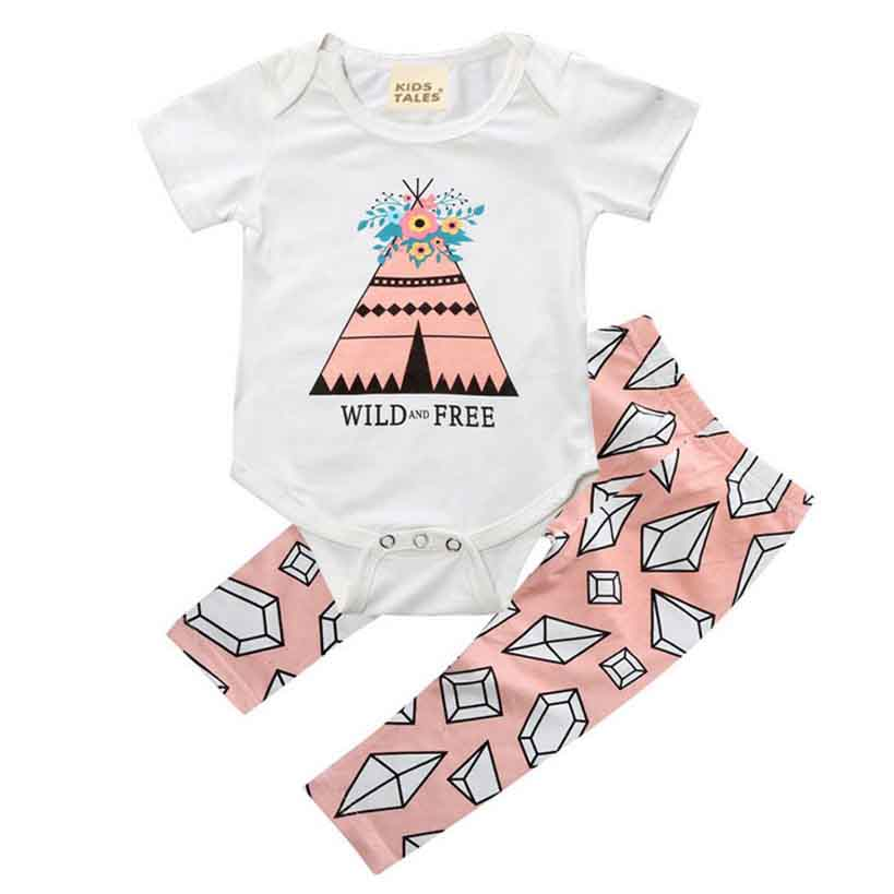 d68e4128b248 ... Baby Girls Clothing Sets 2017 Summer O-neck diamond shirt + Pants Set  Girls Clothes