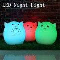 Luz de noche Infantil USB de Silicona Lindo Gato Animal de La Noche del LED Lámpara de luz Para El Dormitorio 7 Lámpara de Cambio de Color de Regalo de Navidad DC5V