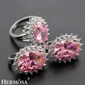 Hermosa Jóias Da Moda Avançada Conjunto Rosa Topza 925 Sterling Silver Mulher Anel + Brincos 7.5 # BK046