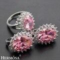 Hermosa Joyería de Moda Avanzada Set Pink Topza 925 Mujeres Anillo + Pendientes 7.5 # BK046