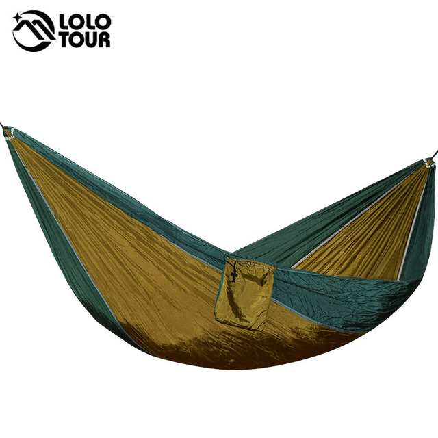 Medium image of parachute cloth hammock sleeping swing single person outdoor travel relax leisure hamak hanging bed durable survival