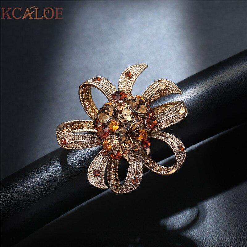 Kcaloe Rose Gold Farbe Grossen Blumen Hochzeit Ringe Mode Bunten