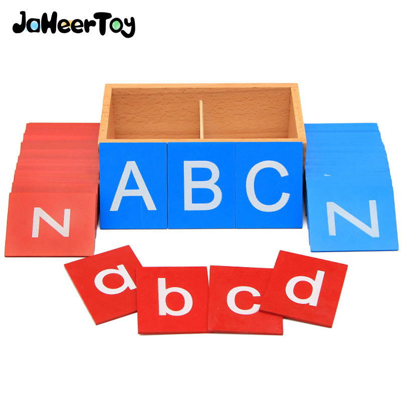 JaheerToy Baby Toys Montessori Educational Toy Early Childhood Wooden Toys Majuscule and Lowercase Letters Wood box jaheertoy montessori early childhood educational wooden toys geometric assembling blocks baby shape cognition teaching aid