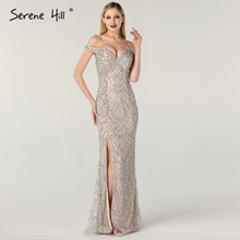 SERENE HILL Silver Luxury Mermaid Evening Dresses 2019