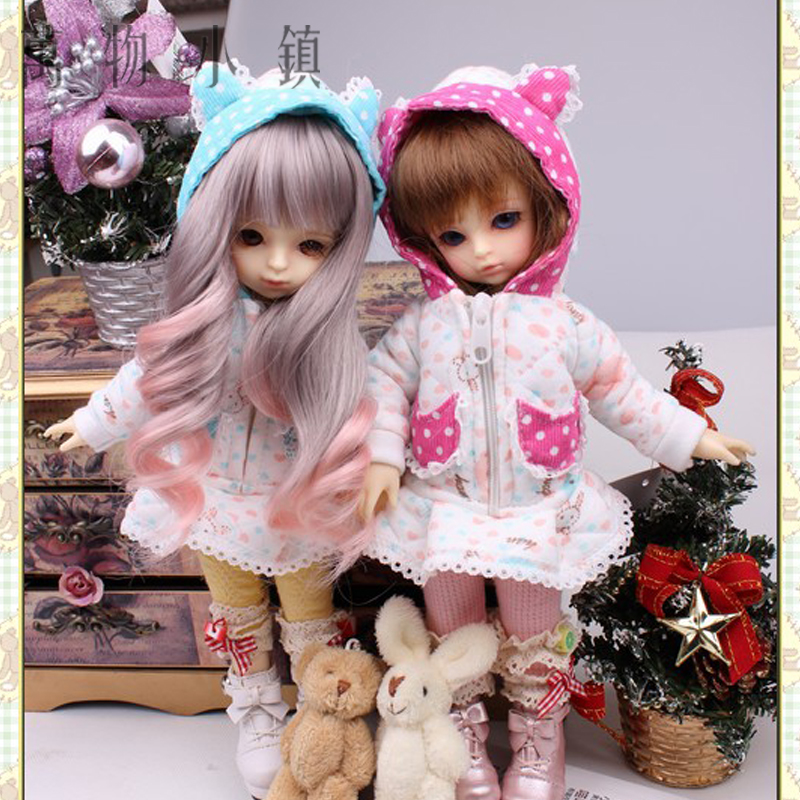 New 1/6 BJD YOSD Doll Clothes Lovely blue/Pink Bunny bowknot loving coat lovely animal pajamas animal outfit for bjd doll 1 6 yosd super dollfie luts dod as dz doll clothes al4