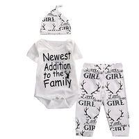 2017 3pcs Newborn Baby Boys Girls Cotton Casual Jumpsuit Bodysuit+Pants Clothes Outfits Set