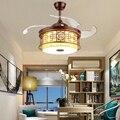 LukLoy китайский стиль Невидимый вентилятор свет полый дизайн абажур для столовой спальни гостиной практичный декоративный вентилятор свет