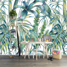Beibehang papel de parede para quarto Nordic hand-painted tropical leaves TV background wall custom large mural green wallpaper