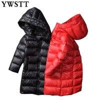 Girls Winter Thick Warm Slim Waistband Coat 2018 New Child Down Jackets Outerwear Shiny Waterproof Medium long Duck Down Park