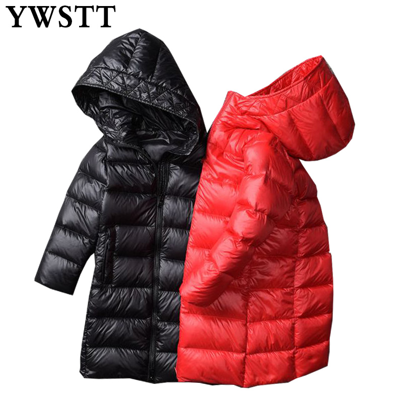 Girls Winter Thick Warm Slim Waistband Coat 2018 New Child Down Jackets Outerwear Shiny Waterproof Medium-long Duck Down Park