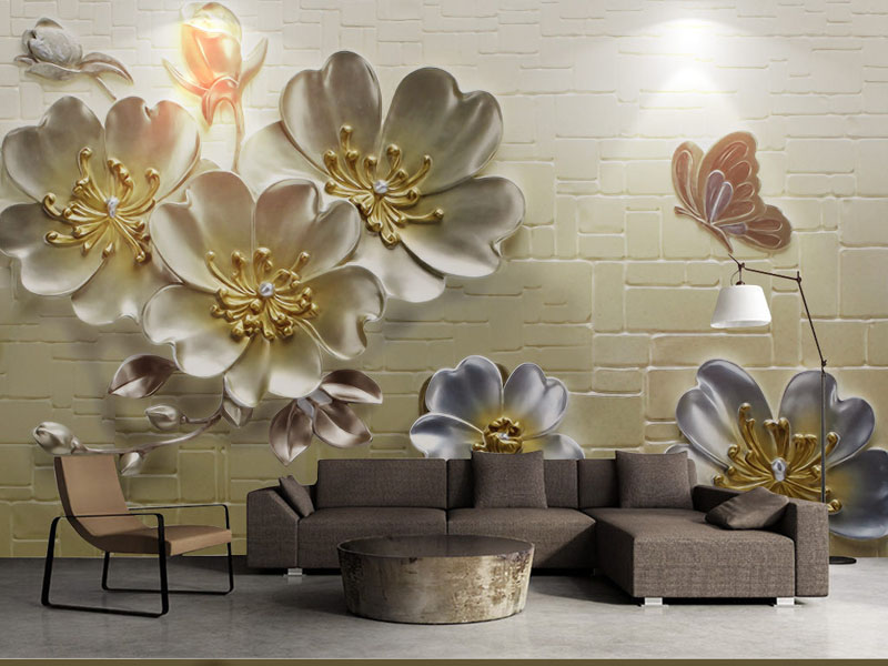 Bacaz 8D/3d Stone Wallpaper Butterfly Flower Mural 3D Wall Mural Wall paper for Living Room 3d Wall Photo Mural 3d Wallcoverings lavender windmill natural landscape vintage 3d room photo wallpaper for 3d livingroom wall paper prints kids wall mural rolls