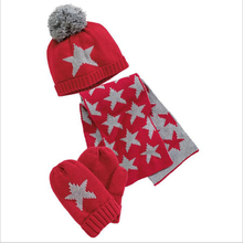 Winter Baby Boy Girl Hat Scarf And Gloves Set Children Cap Girls Christmas Gift Kids Hats Boys Star Print 3 Pieces Sets