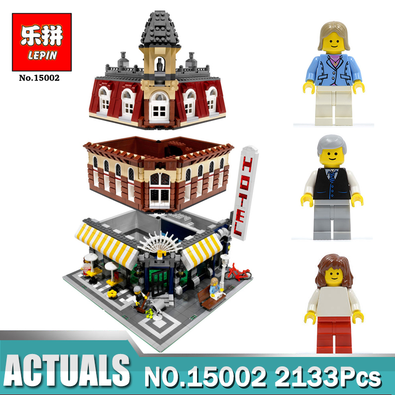 New LEPIN 15002 2133Pcs Creators City Cafe Corner Model Building Kits Blocks Bricks Compatible Legoing 10182 Toys For Children lepin 21004 ferrarie f40 sports car model legoing building blocks kits bricks toys compatible with 10248