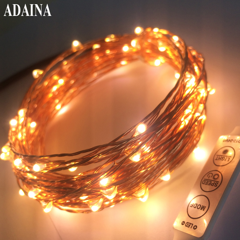Remote Dimmer 20M 200 Leds Kobber Wire LED String Light Med Power Adapter DC 6V 1A String Light Xmas Wedding Decoration