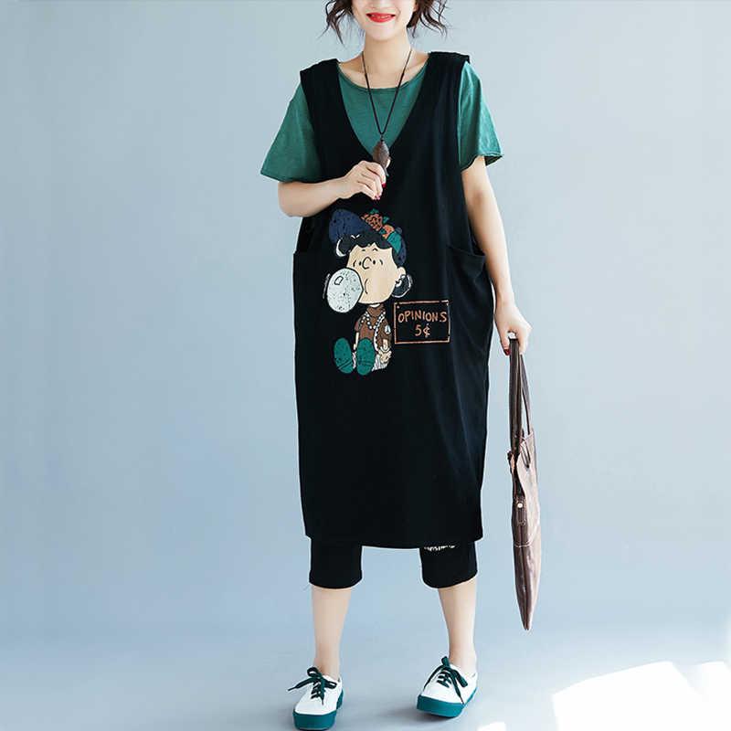 afaa099092a ... Oladivi Brand Clothing Fashion Print Cotton Dress Plus Size Tank Tops  for Women Sleeveless Sundress Ladies ...
