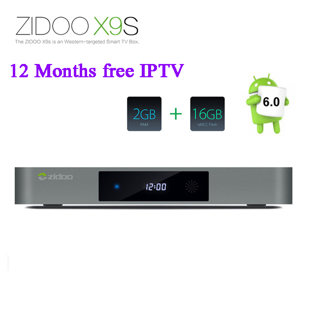 Zidoo X9S TV BOX Android 6.0 HDMI 4K Smart TV+Europe Arabic IPTV Server 1150+ French UK DE Italy Germany Spain Africa Channels