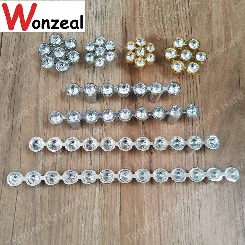 Single hole/ Hole Pitch 64/96mm/128mm Single Knob glossy silver Drawer Pulls Cabinet Handles Crystal Glass Furniture Handle