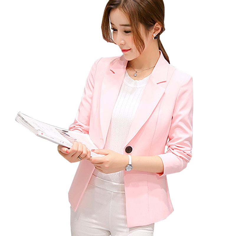 Autumn Women Blazers And Jackets Candy Color Jacket Long Sleeve Slim Suit One Button Women Jacket big Size S-2XL Blazer ...