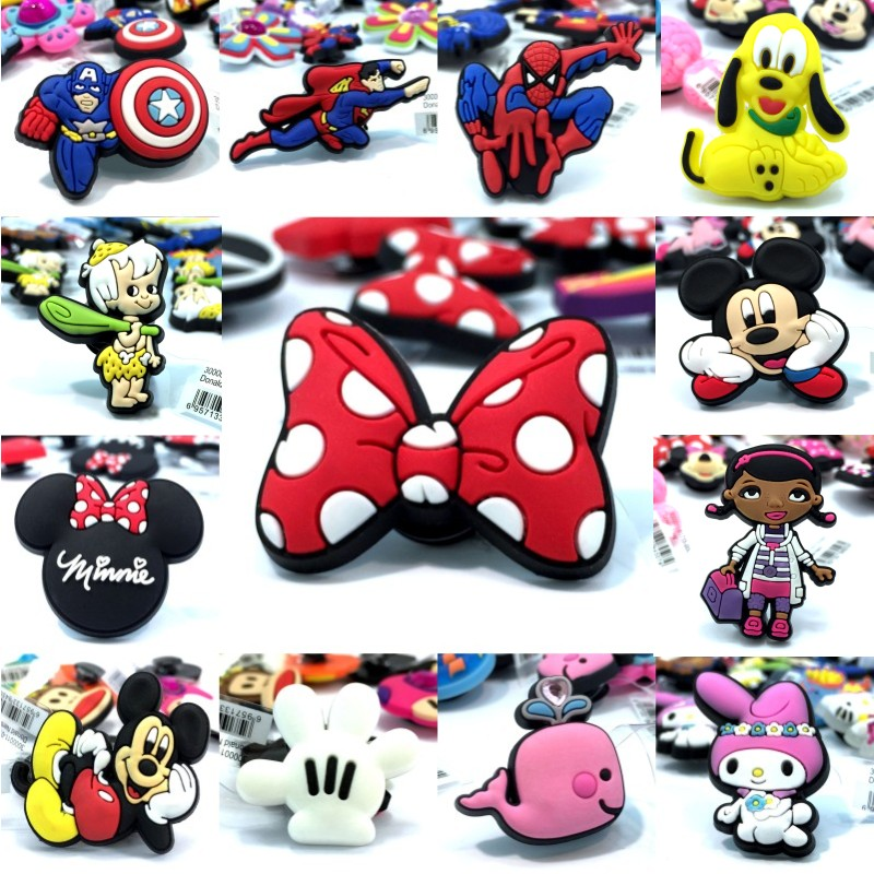 10pcs High Imitation Shoe Charms Mickey Avenger Whale Rabbit Doc Mcstuffins Shoe Buckles Fit Bracelets Croc JIBZ Kids Gift