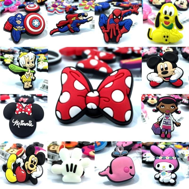 10pcs High Imitation Shoe Charms Mickey Avenger Whale Rabbit Doc Mcstuffins Shoe Buckles Fit Bracelets Croc JIBZ Kids Gift