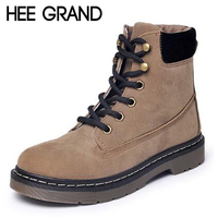 HEE GRAND Oxford Shoes Woman Winter Lace Up Flats Fashion Causal Women Timber Ankle Boots Women