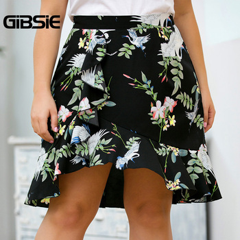 GIBSIE Plus Size Ladies Black Ruffle Trim Print A Line Skirts Womens High Waist Midi Skirt 2019 New Women Summer Elegant Skirt