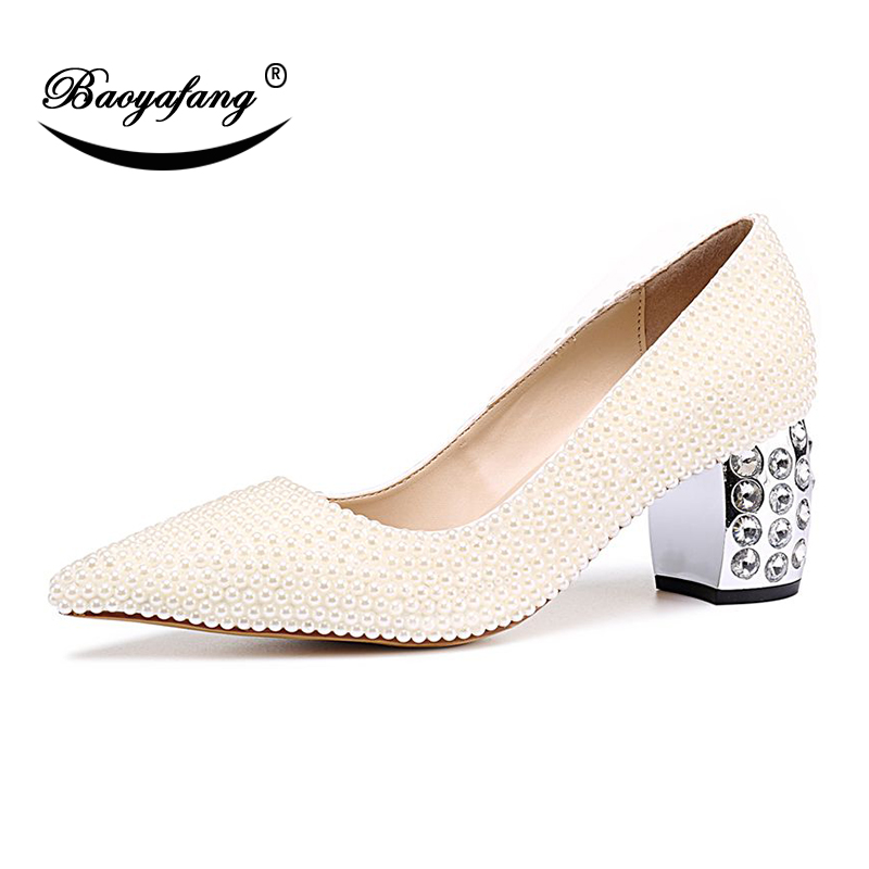 BaoYaFang Ivory Pearl Crystal Heel Pointed Toe Womens Fashion Shoes Shallow Wedding shoes Bride Dress Pumps Thick Heels shoe BaoYaFang Ivory Pearl Crystal Heel Pointed Toe Womens Fashion Shoes Shallow Wedding shoes Bride Dress Pumps Thick Heels shoe