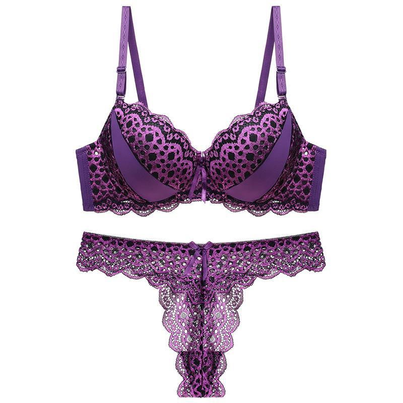 G String Sexy Leopard Women   Bra     Set   Hollow Out Push Up   bra   Lace Thong Underwear Panty 3/4 cup B C Transparent   Bra     Brief     Set   pink