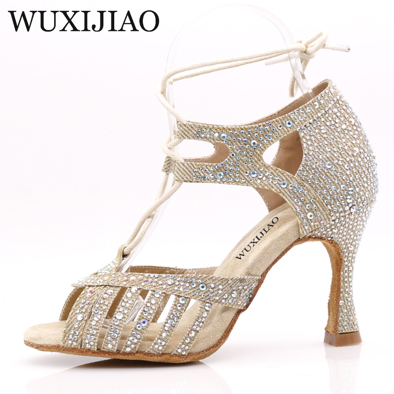 Image 5 - WUXIJIAONew Red and Glod Flash Cloth Salsa Dance Shoes Soft Bottom Latin Kizomba Tango Ballroom Dance Shoes Heel 6/7.5/8.5/10cm-in Dance shoes from Sports & Entertainment