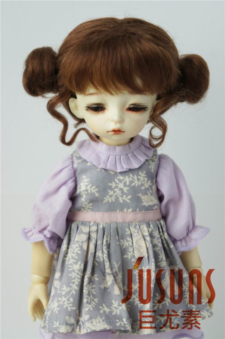 JD406 1/6 Lovely two pony Mohair BJD doll Wigs soft doll wig size 6-7 inch Lati yellow BJD doll wigs jd199 1 8 1 6 cute lati doll wigs size 5 6 inch 6 7 inch fashion synthetic mohair bjd wig twin pony wig doll accessories