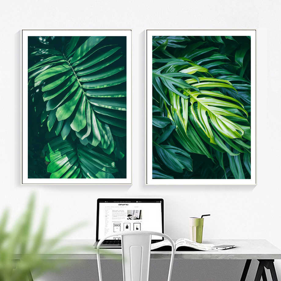 Tropical Monstera Fresh Big Leaf Wall Art Canvas Painting Nordic Posters And Prints Wall Pictures For Living Room Bedroom Decor