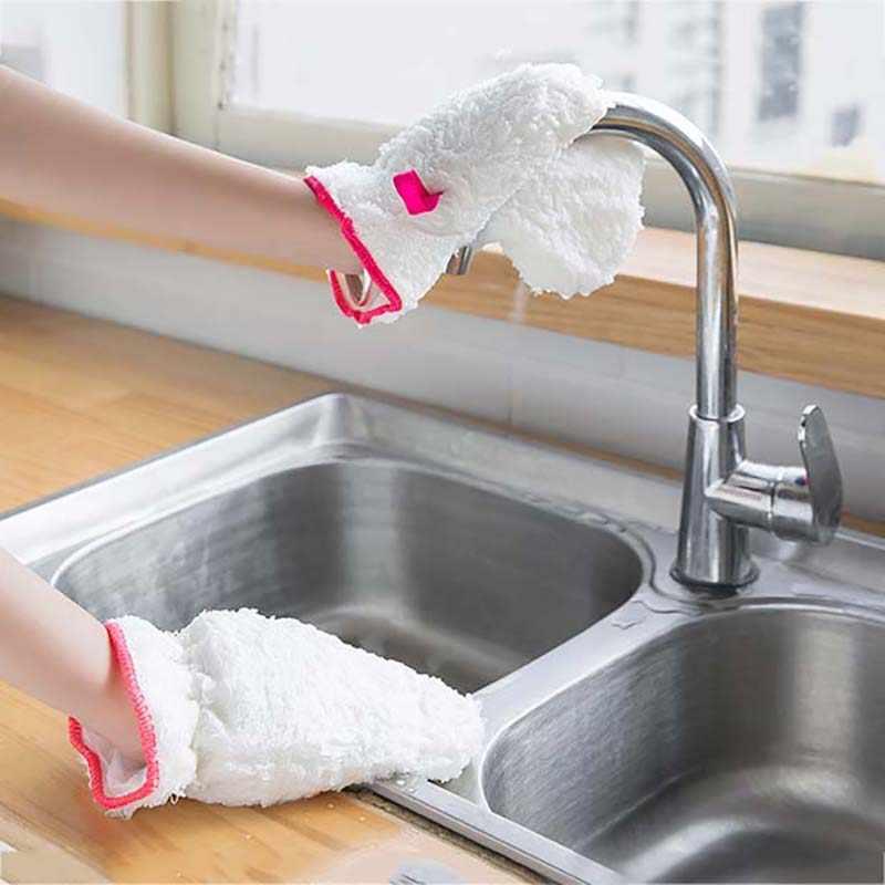 Microfiber Dish Sarung Tangan Serbet Handuk Dapur Cleaner Wipping Kain Pembersih Mobil Handuk Pembersih Debu Tahan Minyak Glov