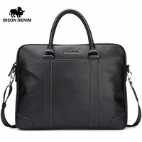 BISON DENIM Fashion Cowhide Male Handbag Famous Brand 14 Inches Laptop Business Bag Men Messenger Bag