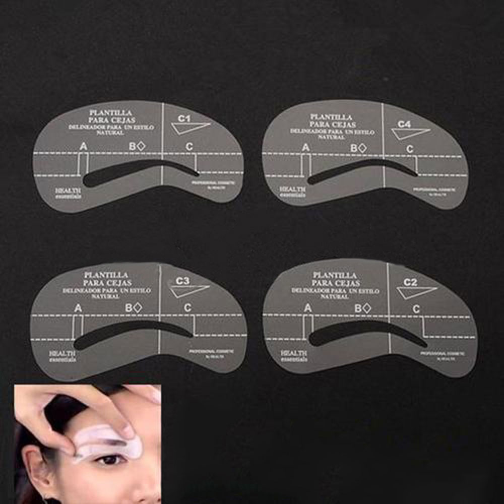 New Design Makeup Accessories Eyebrow Thrush Card 4 pcs Plastic Stencils Set Card Template Model Tools