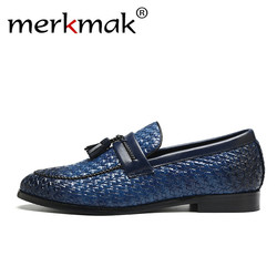Merkmak Luxury Men Leather Loafers Retro Tassel Lozenge Pattern Shoes Brand Comfort Casual Male's Flat Footwear Large Size 37-48