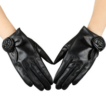 Fashion Black Sheepskin Gloves Female Genuine Leather Touchscreen Women Spring Summer Sunscreen Glove NEW 2019