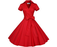 Eyegemix S 2xl Women Retro Dress 50 S 60 S Vintage Rockabilly Swing Feminino Dresses V neck Short Sleeves Dot Print Dress 31