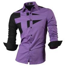 Jeansian Mens Dress Shirts Casual Stylish Long Sleeve Designer Button Down Slim Fit 8397 Purple
