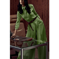 Europe and America Style long sleeved Belt Decoration Shirt and Wide Leg Pants Ladies Office Wear Green Suit Spring 2017
