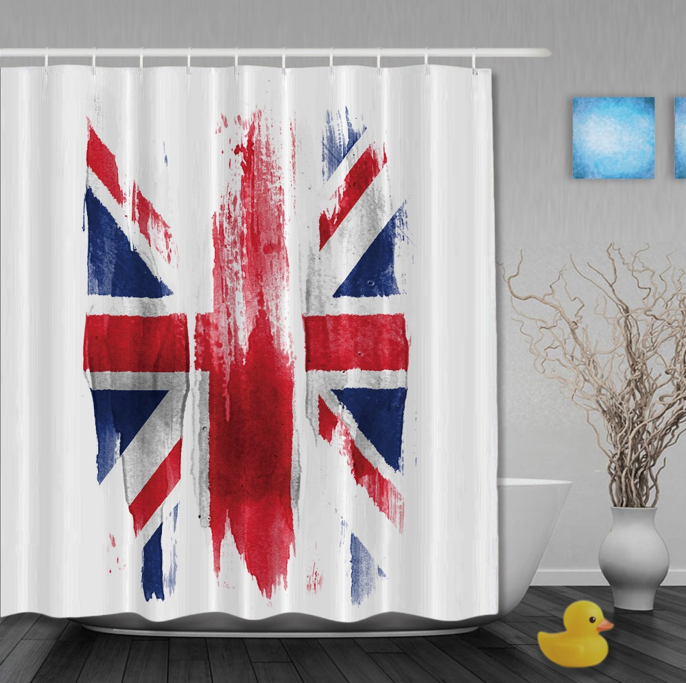 Jolly roger shower curtain - United Kingdom Flag Classic Retro Style Shower Curtains Waterproof Fabric High Quality Custom Bathroom Curtain With