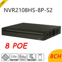 DH оригинальный Englsih версия NVR 8 Порты PoE 8CH NVR2108HS 8P S2 до 6Mp Запись Onvif сетевой видеорегистратор H.264 +/ h.264