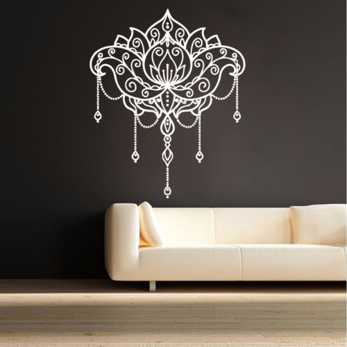 Creative design lotus flower decals yoga signs vinyl wall sticker home decor art wall tattoo mural modern stylish decal la698 in wall stickers from home