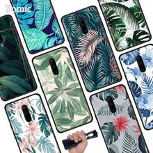 Tropical Green Leaves Black Soft Case for Oneplus 7 Pro 7 6T 6 Silicone TPU Phone Cases Cover Coque Shell